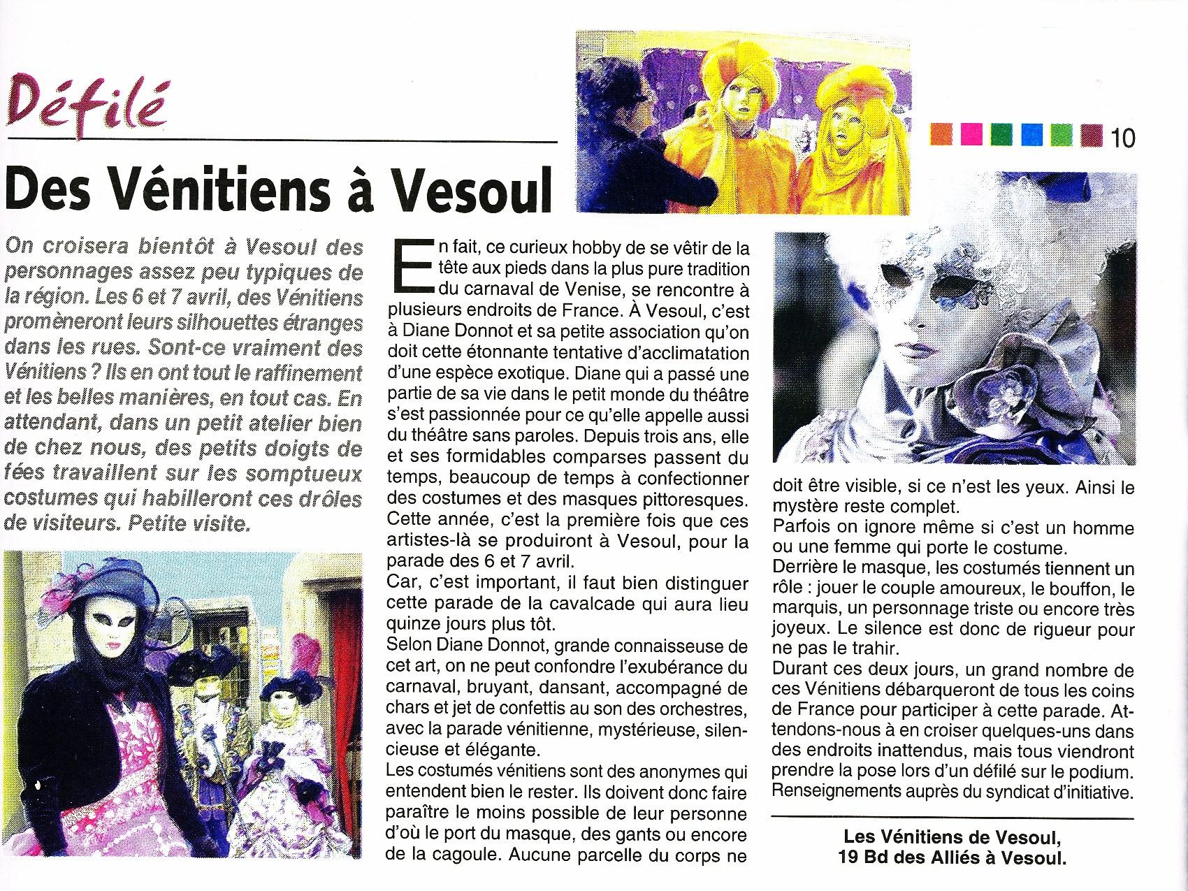 VENISE 70 MAG Carnaval Vénitien de Vesoul 2013_Atelier la colombe
