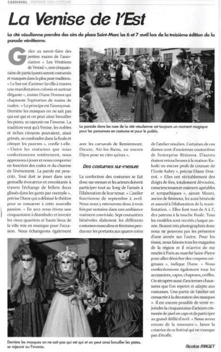 Article Carnaval Vénitien de Vesoul 2013_Atelier la colombe