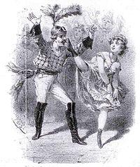 le dansuer de Carnaval Chicard avec une blanchisseuse dansant le cancan à la Grande Chaumière