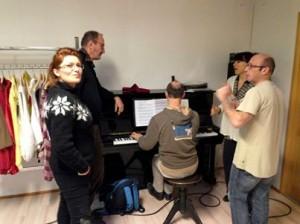 repétition chant : nathalie Mercier, Dany Chambet Ithier, Michel Ott, Nathalie Boudet et Jean-Philippe Meyer.