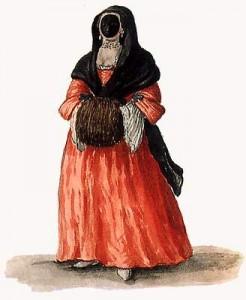 Giovanni Grevembroch, XVIII ème siècle, femme portant la Moretta
