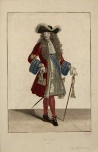 Louis XIV Un justaucorps à basques droites Gravure Antoine Touvain