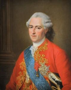 Louis XV : cravate et jabot, un bout du jabot dépasse en dessous du ruban bleu