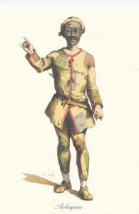 Arlequin début XVII ème aux vêtements rapiécés. Maurice Sand 1860
