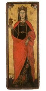Ste Lucie, panneau issu d'un triptyque du XIII ème siècle. Ste Lucie est encore représentée avec une lampe à la main. Après le XIV ème siècle, elle sera représentée avec ses yeux posés sur un plateau