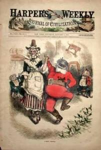 Dans cette illustration, l'habit du Père noël ressemble étrangement au Long John, sous-vêtement typique des cowboy