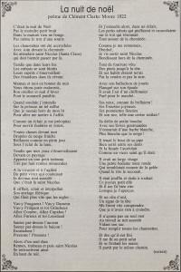 """Extrait de poème """"La nuit de Noël"""" de Clément Clarke Moore en 1822"""