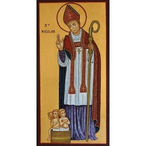 Icône de St Nicolas représenté avec les trois enfants sauvés du saloir