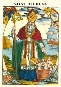 Image d'Epinal de st Nicolas représentant les miracles qui lui sont attribués