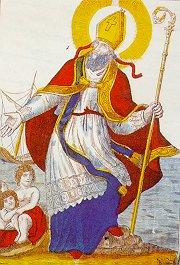 image d'Epinal de St Nicolas, chappe rouge et aube violette