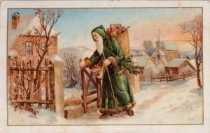 Father Christmas tout de vert vêtu
