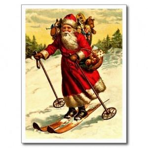 Carte postale du Père Noël faisant sa tournée en skis