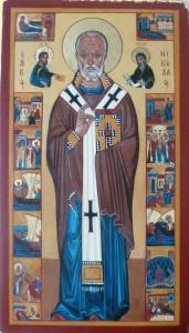 Icône de st Nicolas représentant les événements importants de sa vie