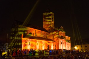 Présentation des costumés en son et lumière au Carnaval de Rosheim